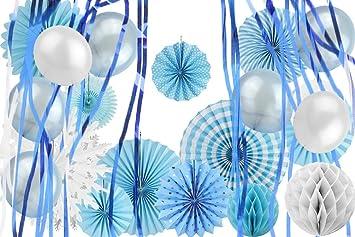 Mariage Decoration Salle Bleu Papier De Soie Rosaces Deco