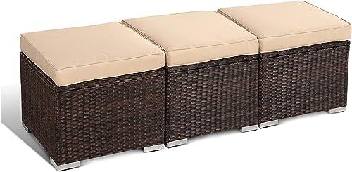 Patio Footsttols Rattan Ottoman Set of 3 Footrest Brown Rattan Khaki Cushion