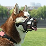 SHUNAI Dog Muzzle, Rubber Basket Muzzles for Small,Medium,Large,Extra Large Dogs, Adjustable and Breathable Design, Stops Biting, Barking and Aggressive Dogs