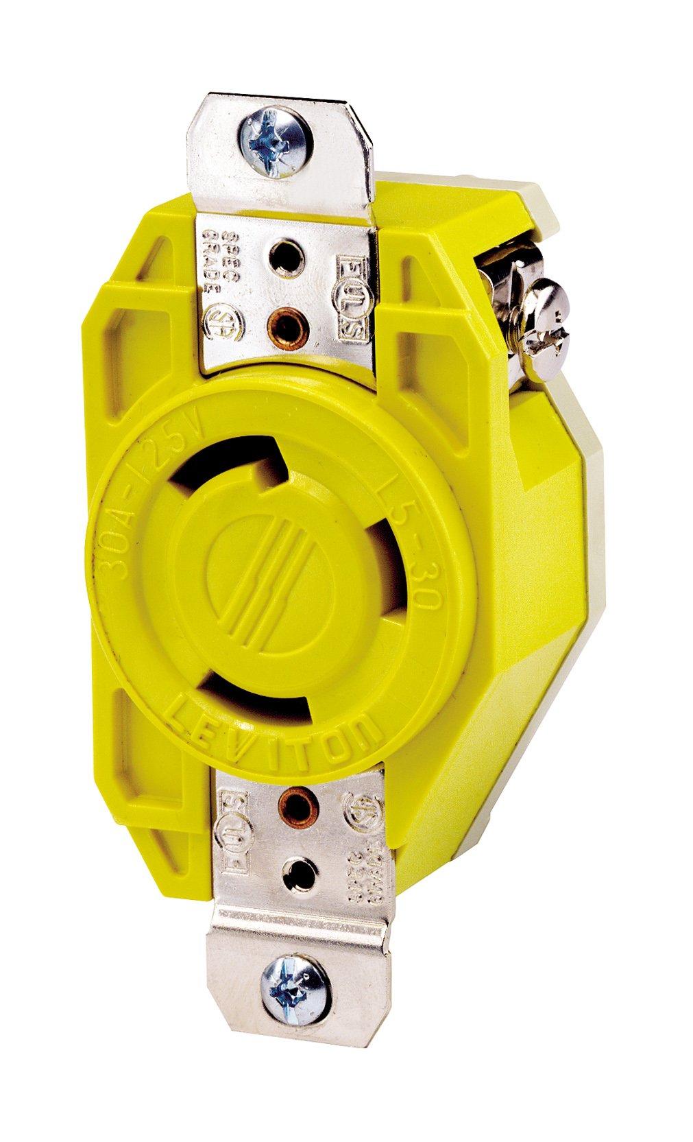 Leviton 26CM-10 30 Amp, 125 Volt, Flush Mounting Locking Receptacle, Industrial Grade, Grounding, Corrosion Resistant, Yellow