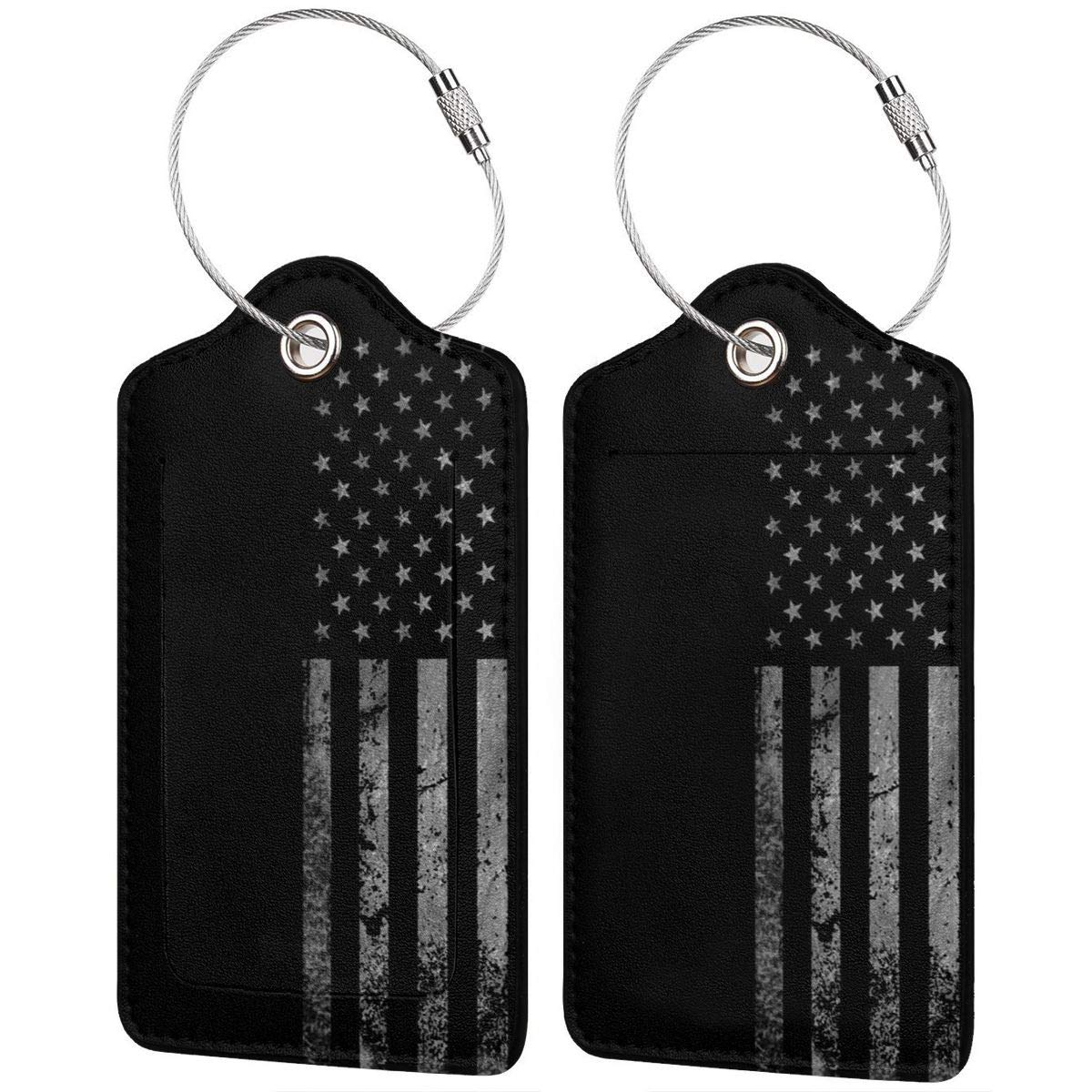Thin White Line USA Flag Business Trip Luggage Tags Information Labels With Full Back Privacy Cover For Suitcase//Baggage//Boarding Case//Backpack