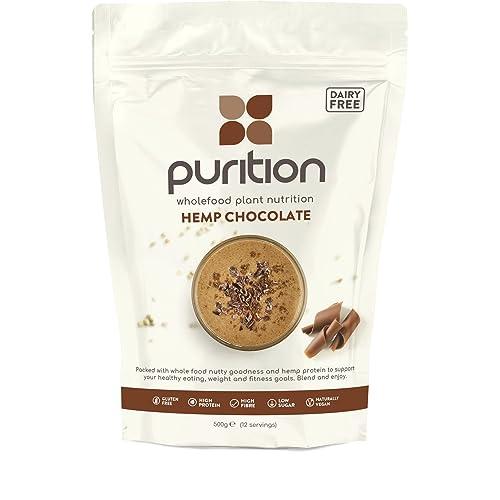 Purition Batido de proteínas Vegano de Chocolate (500g). Batido para el desayuno sin
