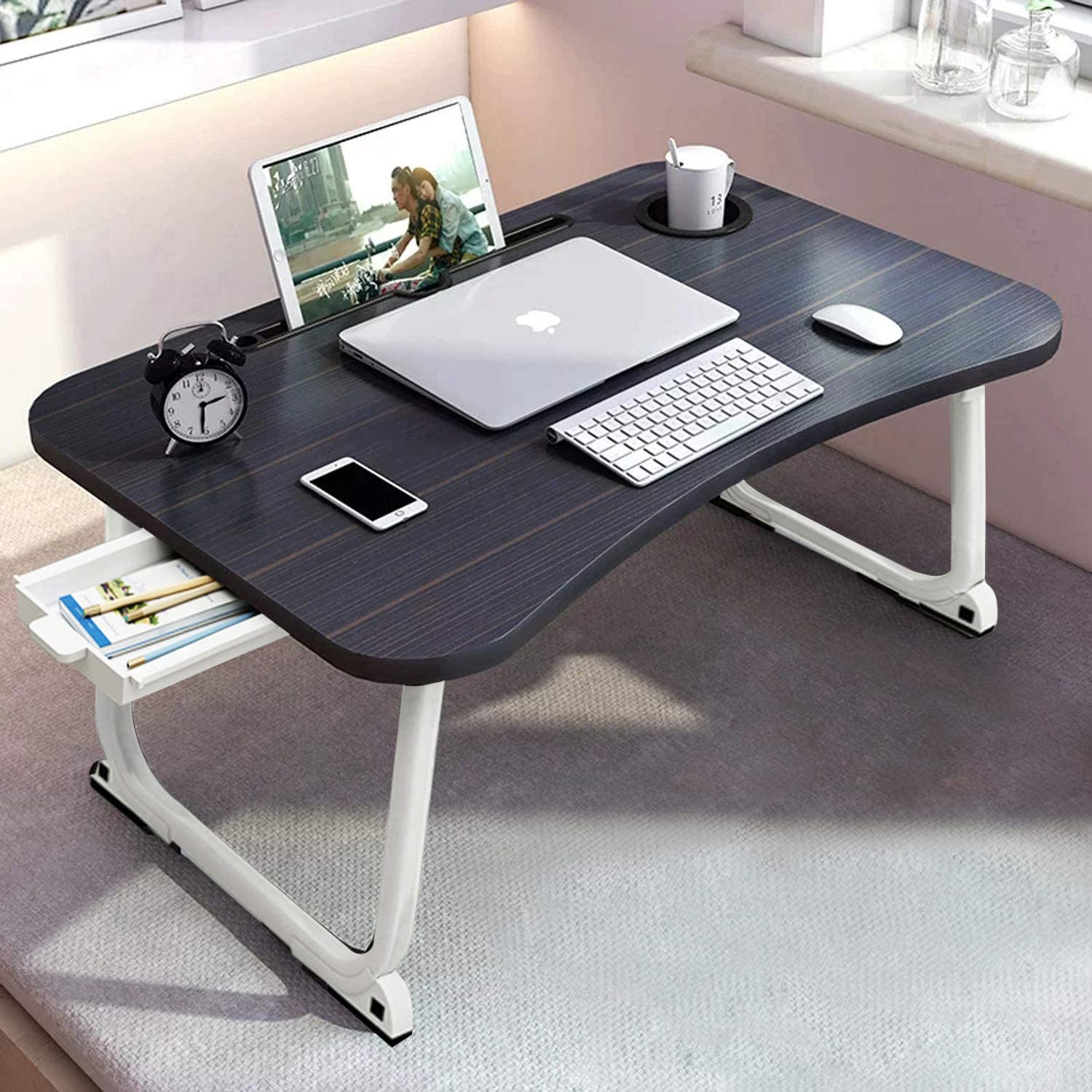 """Folding Laptop Desk, Bed Table with Beverage Holder, Notebook Stand Holder with Storage Drawer, Lap Bed Tray for Student Adult Eating Reading Watching on Couch Sofa Hospital(23.6""""x15.7""""x11"""")"""