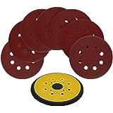 5-Inch 8-Hole Hook and Loop Random Orbit Sander Pad Replaces Black & Decker OE # 380278-00 for RO 100 Sander with 70pcs 5-Inch 8-Hole Hook and Loop Sanding Discs