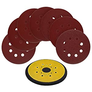 5-Inch 8-Hole Hook and Loop Random Orbit Sander Pad Replaces Black & Decker OE # 380278-00 for RO 100 Sander with 70pcs 5-Inch 8-Hole Hook and Loop Sanding Discs