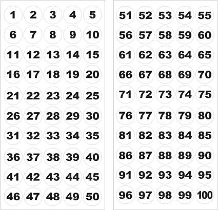 5000 Punkte 1 bis 100 selbstklebende Zahl-Aufkleber die Aufkleber organisieren 50 Blatt Number Stickers Zahl-runde Aufkleber-Aufkleber wei/ßer Hintergrund