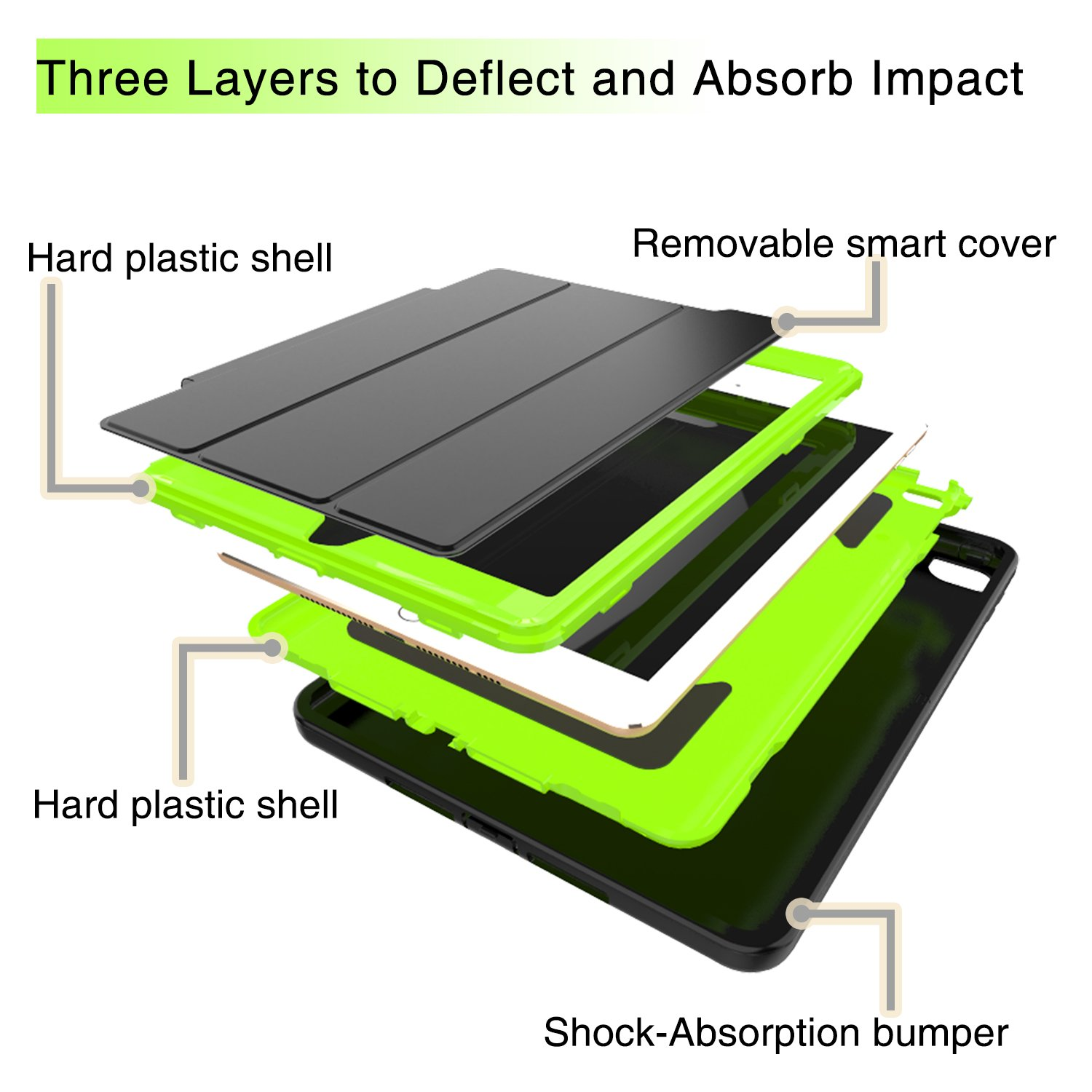 Qelus iPad Air2 Case, Three Layer Hybrid Shockproof Rugged Protective Heavy Duty with Magnetic Stand, Smart Cover Auto Wake/Sleep Protective Case Cover for Apple iPad Air 2(2014 Released),Black+Green by Qelus (Image #3)