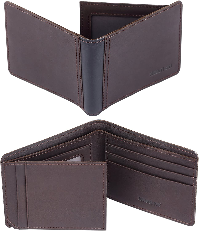 Large Trifold Wallets for Men RFID Blocking Black Leather Multi Cards Holder Brand Name EQUALITY CITY