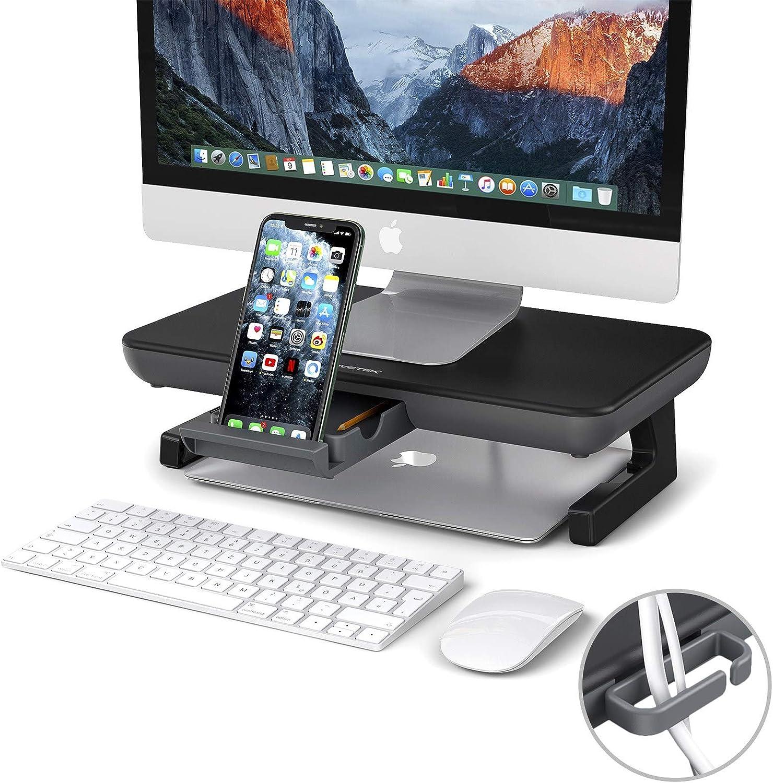 Monitor Stand Riser, AboveTEK Adjustable Computer Stand with Storage Drawer, Computer Desk Organizer with Cable Management, Phone Holder for Computer, Desktop, iMac, Printer - Black & Gray