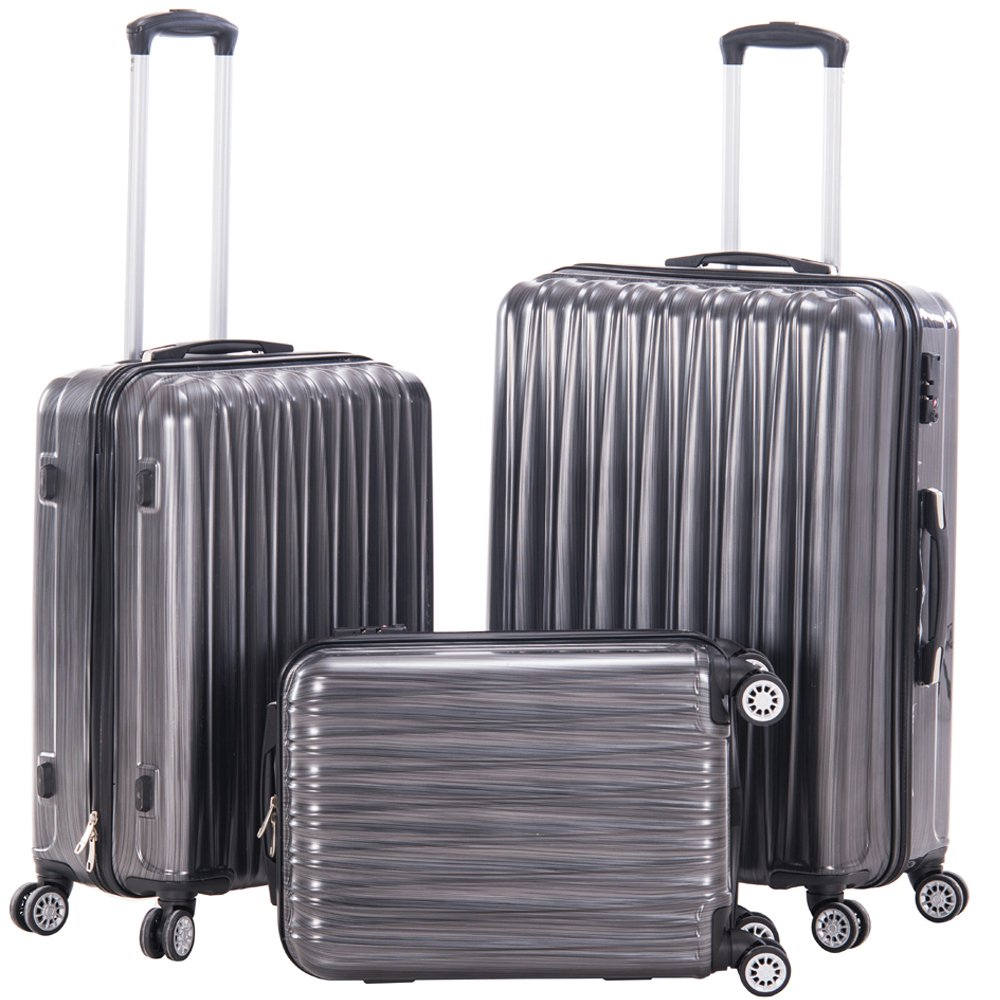 Luggage 3pcs Sets Hard Shell Spinner Suitcase PC+ABS Lightweight Travel Trolley Bag Carry On Trolley Case- 3 Piece (28inch + 24inch +20inch) (GREY)