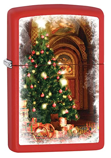 Amazoncom Zippo Custom Lighter Christmas Tree With Presents Red