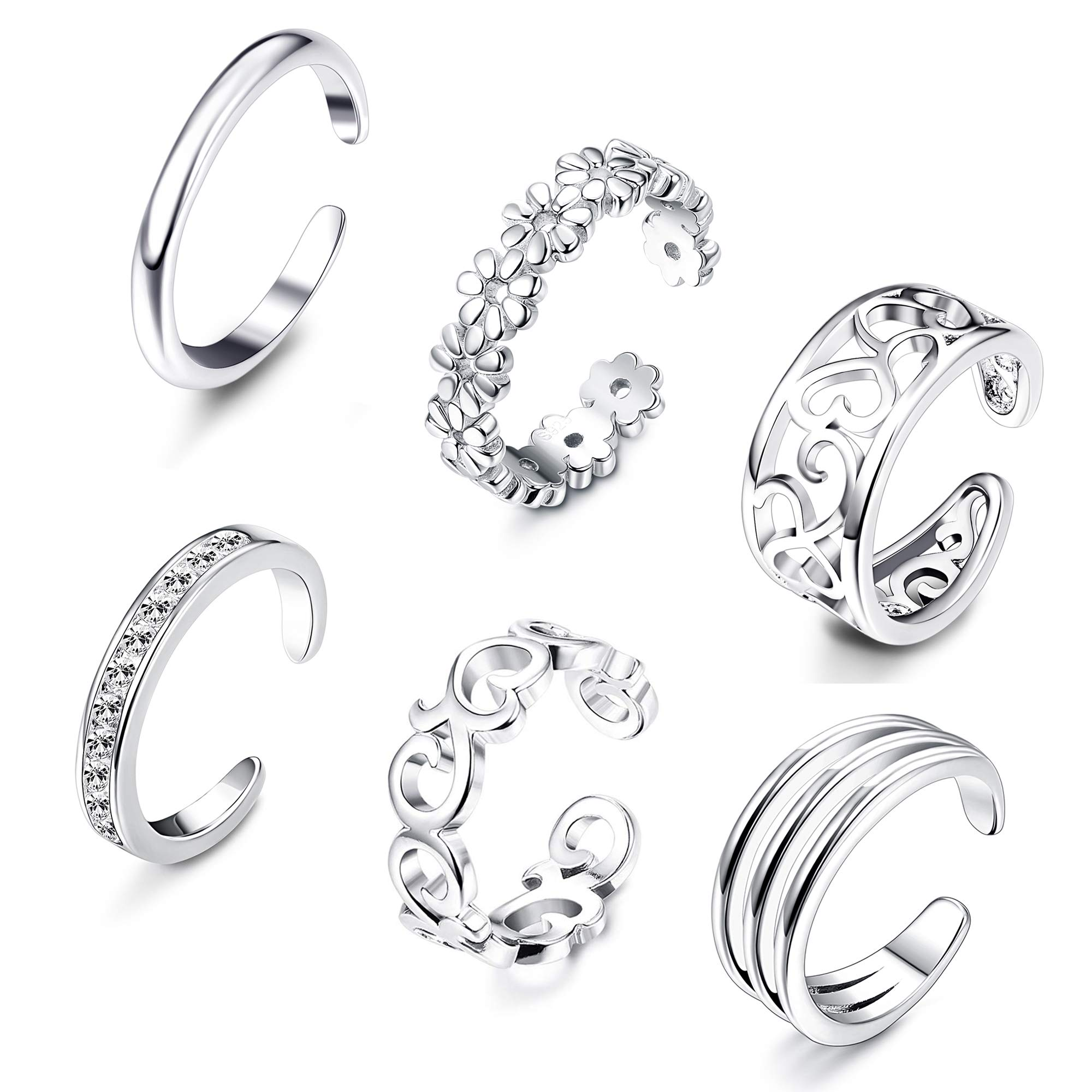 LOLIAS 6Pcs Open Toe Rings for Women Adjustable Toe Band Ring Set Gifts Summer Beach Foot Jewelry