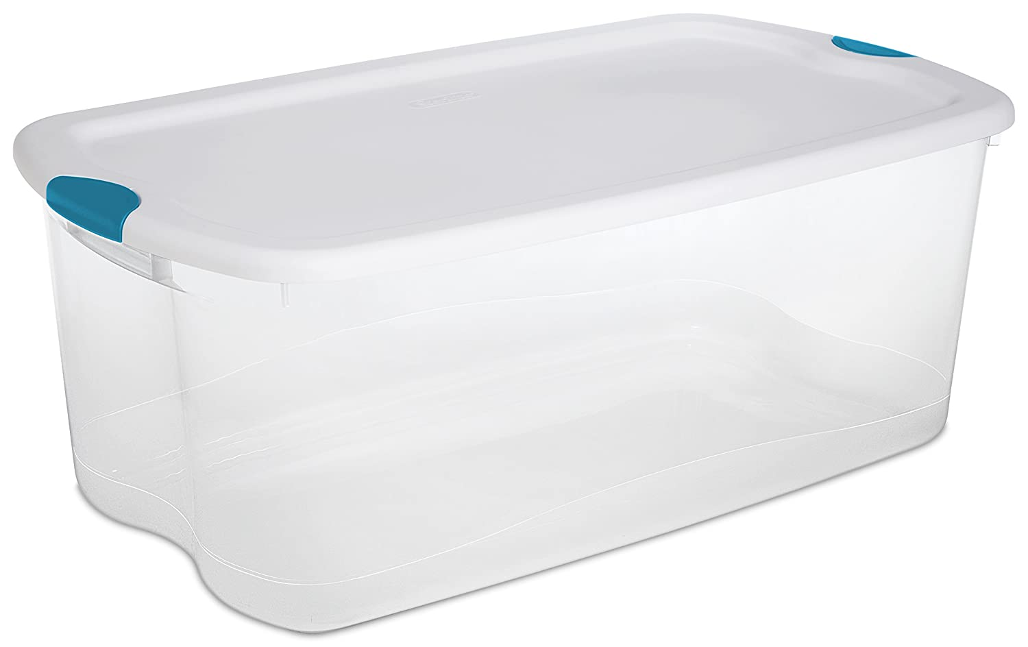 Amazon.com STERILITE 18898004 106 Quart/100 Liter Latch Box White Lid Clear Base Blue Aquarium Latches 4-Pack Home u0026 Kitchen  sc 1 st  Amazon.com & Amazon.com: STERILITE 18898004 106 Quart/100 Liter Latch Box White ...