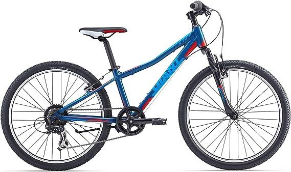 Giant - Bicicleta de montaña para niño de 24 pulgadas, horquilla amortiguada XTC JR 2 Tourney de 7 V, azul y rojo: Amazon.es: Deportes y aire libre
