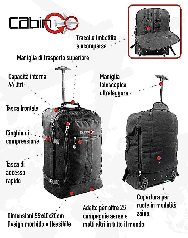 CABIN GO cod Vol approuvé IATA//EasyJet // Ryanair - 55 x 40 x 20 cm 44 litres Chariot MAX 5520 Sac à dos pour bagage à main//cabine de voyage légère avec roues