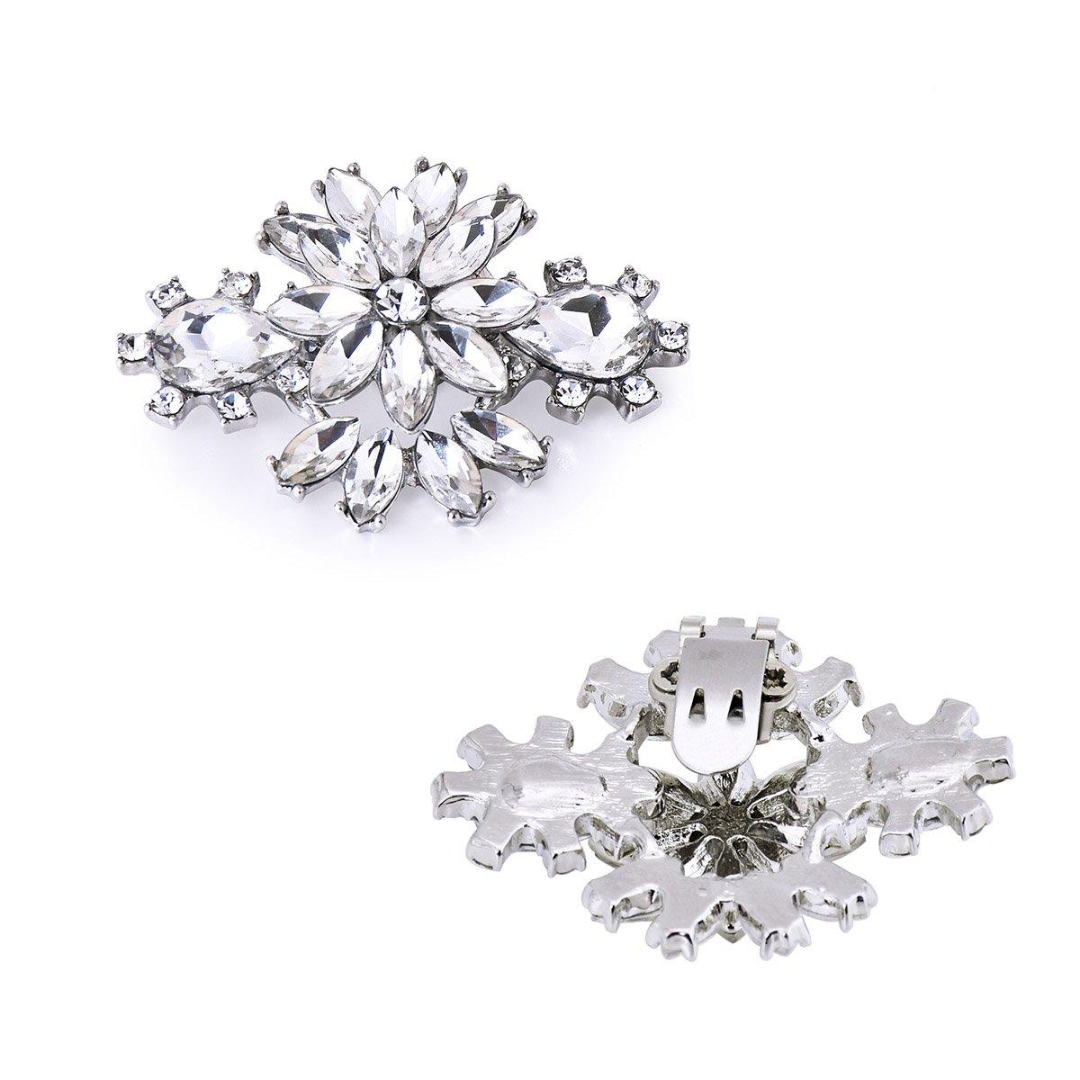 ElegantPark AK Wedding Dress Clutch Double Rhinestones Flowers Silver Shoe Clips 2 Pcs by ElegantPark (Image #5)