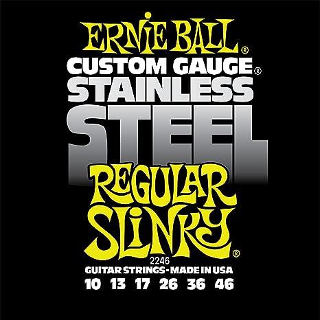 Cuerdas de guitarra eléctrica de cuerda de acero inoxidable Slinky Ernie Ball regular - 10-