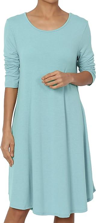 BNWT NUTMEG LADIES BLUE FLORAL 3//4  SLEEVED T SHIRT DRESS