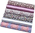 "David Angie Leopard Printed Faux Leather Sheet Holographic Burst Crack Synthetic Leather Fabric Assorted 6 PCS 7.9"" x 13.4"" (20 cm x 34 cm) for Hair Accessories DIY Crafts Making (Leopard)"