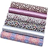 """David Angie Leopard Printed Faux Leather Sheet Holographic Burst Crack Synthetic Leather Fabric Assorted 6 PCS 7.9"""" x 13…"""
