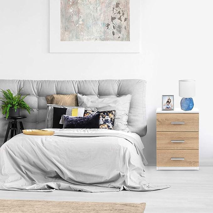 COMIFORT Mesa de Noche - Mesita Auxiliar para el Dormitorio de Estilo Nórdico, Moderna y Minimalista, con 3 Espaciosos Cajones, Muy Resistente, de Color Nordic: Amazon.es: Hogar