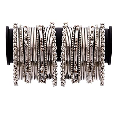 08f8f84054d88 Zeneme Jewellery Traditional Silver Plated Oxidized Bracelet Bangles Set  for Girls and Women  Amazon.in  Jewellery