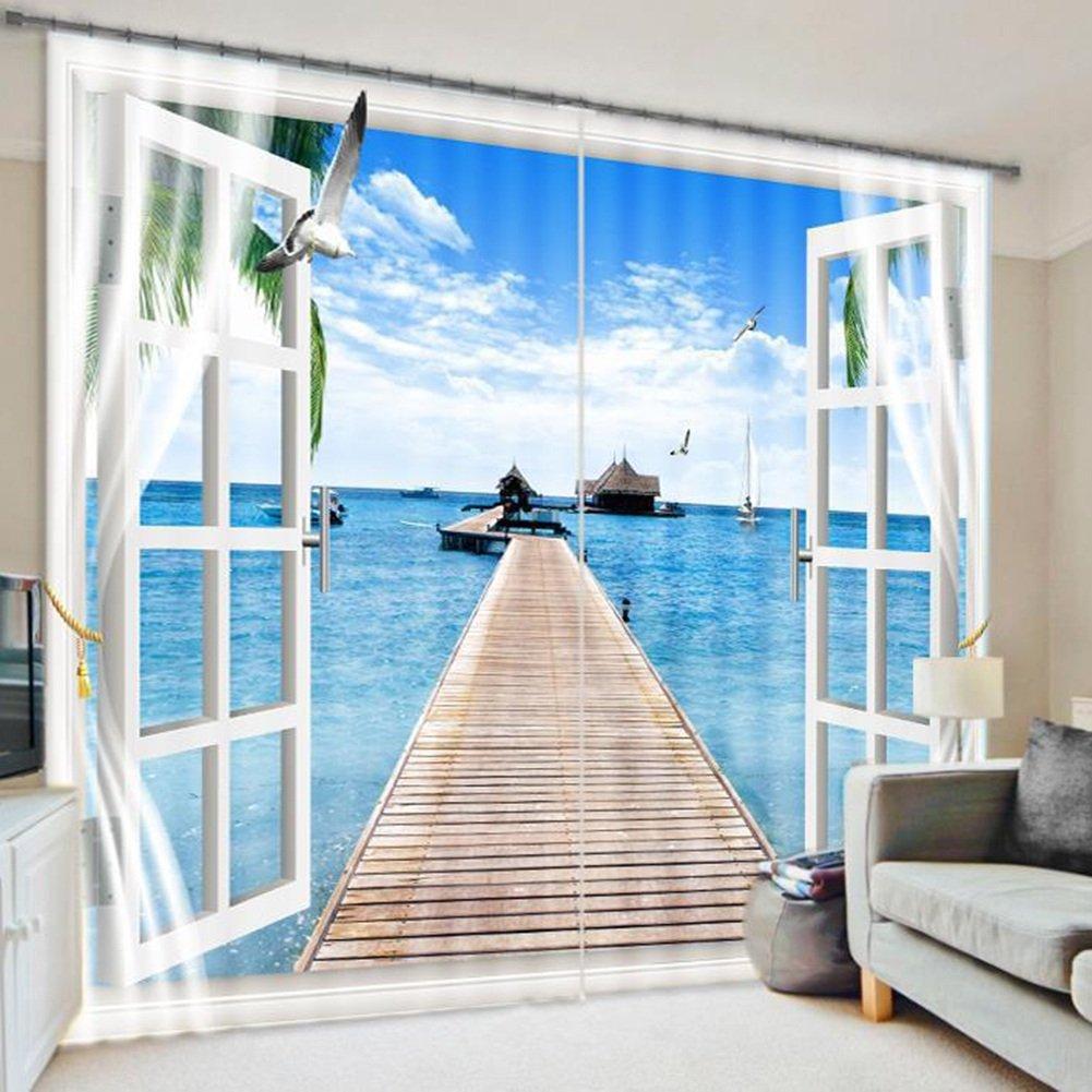 QIANGDA カーテン 3Dカーテン 海の柄 耐摩耗性 窓処理 ノイズを減らす 冷たいままにする 断熱 2つのパネルのセット、 オプション2種類、 カスタマイズされたサイズ ( 色 : 1# , サイズ さいず : W 3.2m x H 2.7m ) B078Z5RSSL W 3.2m x H 2.7m|1# 1# W 3.2m x H 2.7m