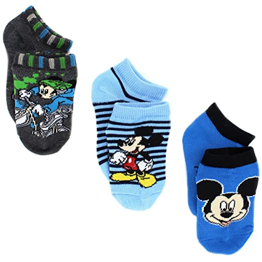 Amazon Com Mickey Mouse Boys 3 Pack Socks Toddler Little Kid