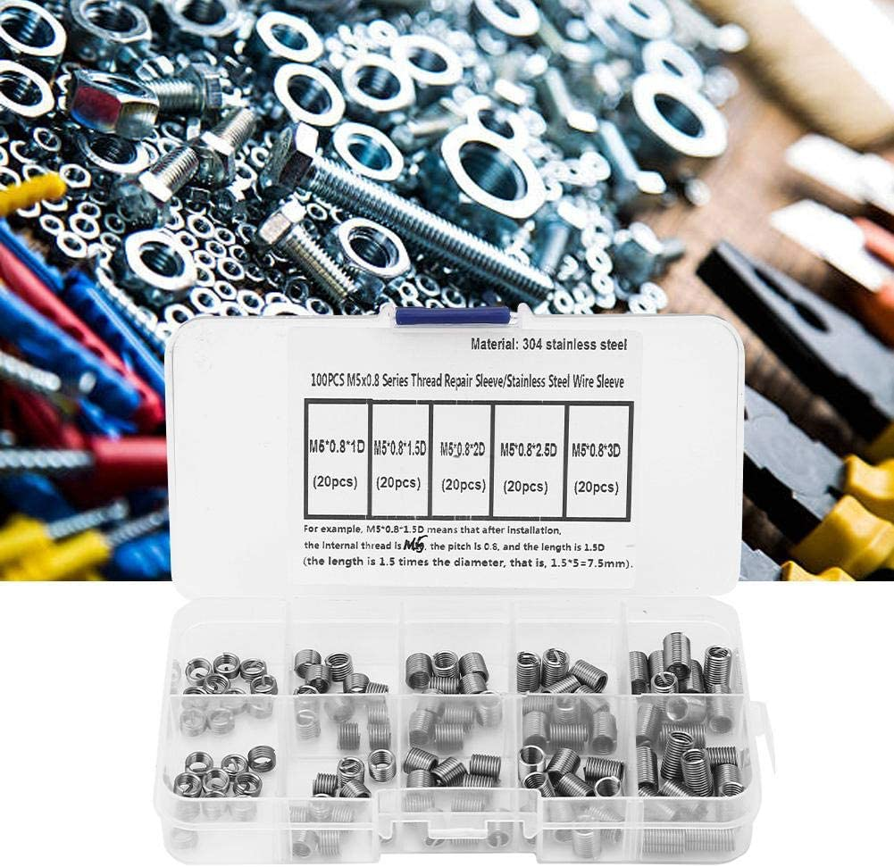 Ginyia 100 pcs Coiled Wire Thread Repair Insert Stainless Steel Thread Screws Sleeve Assortment Kit M50.8