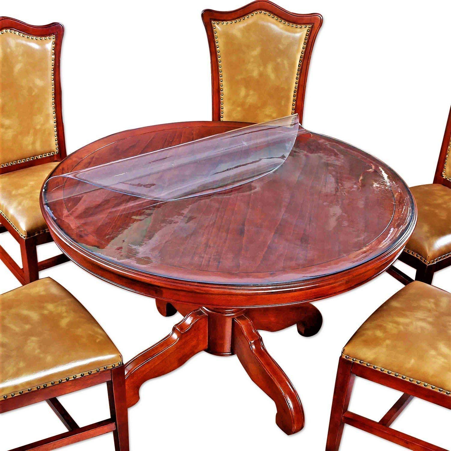Amazon Com 2 Sets Round Clear Plastic Tablecloth Table Protector