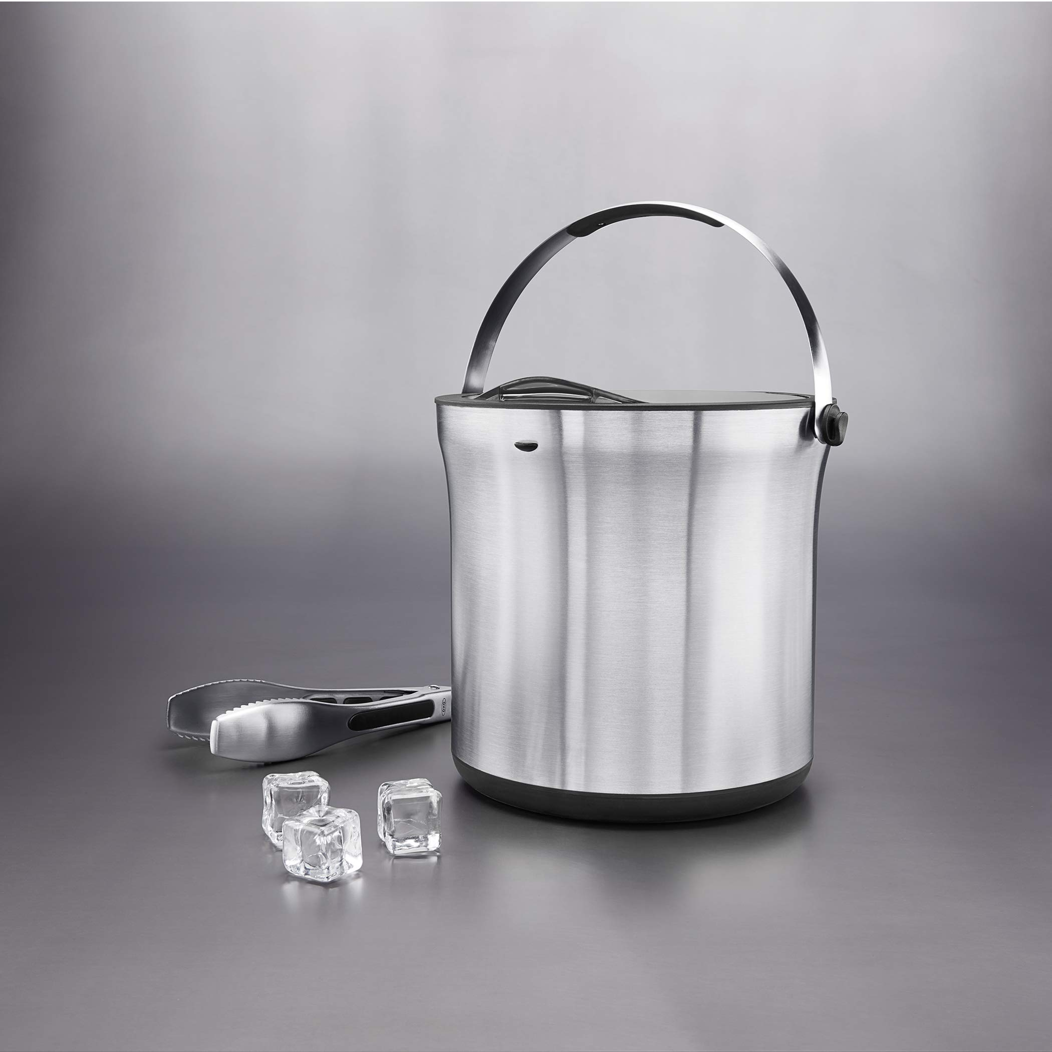 Oxo 3107300 Steel Ice Bucket And Tongs Set Silver Black 4