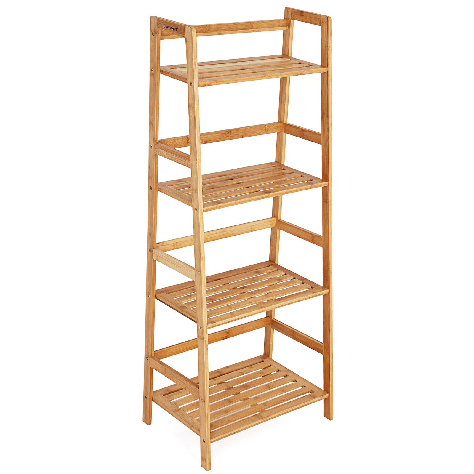 SONGMICS Bamboo Ladder Shelf Bookcase 4 Shelf Multifunctional Storage Rack Display Stand ULBR04Y