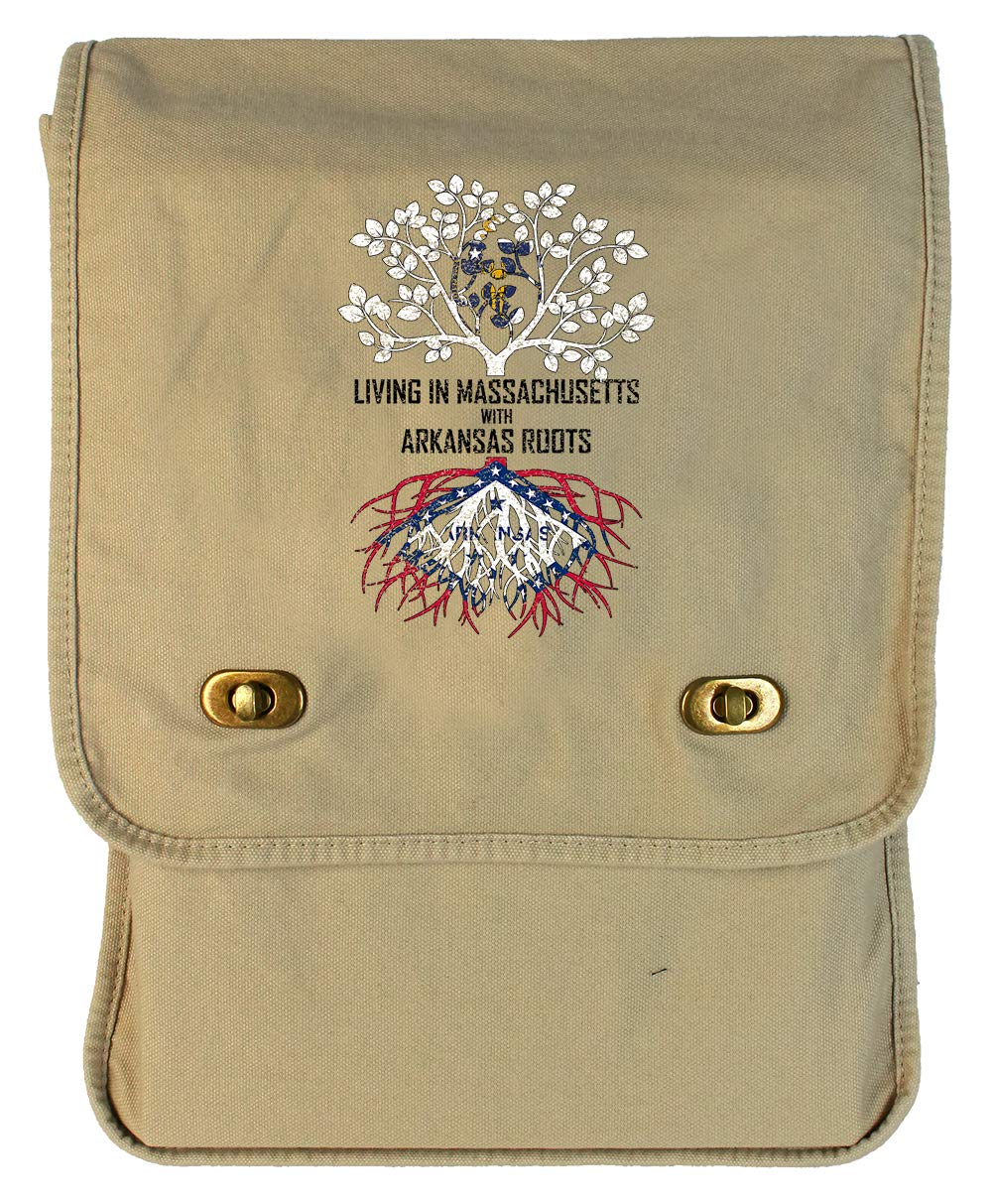 Tenacitee Living In Massachusetts with Arkansas Roots Grey Brushed Canvas Messenger Bag