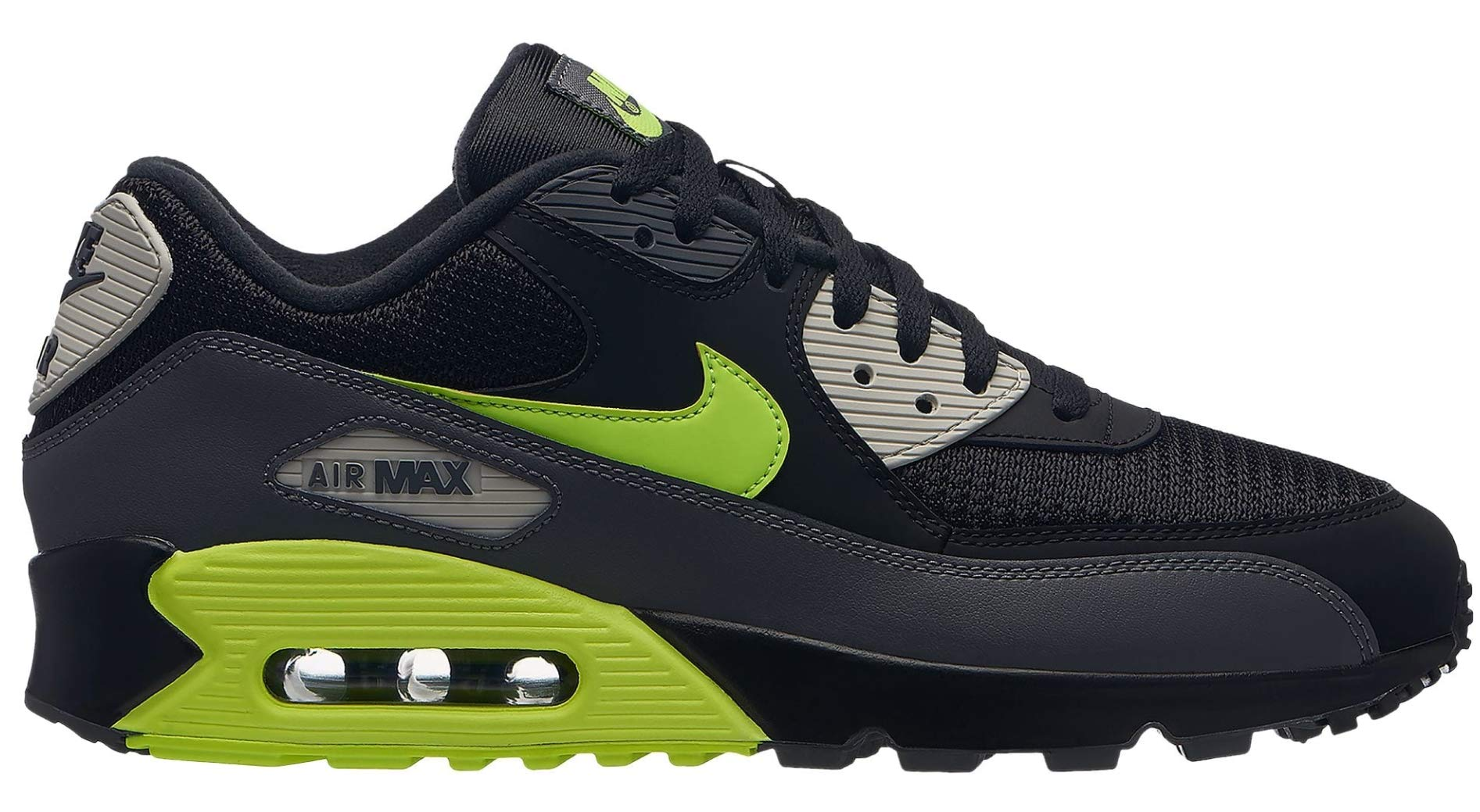 cheap for discount 18579 3462d Galleon - Nike Mens Air Max 90 Essential Running Shoes Dark Grey Volt Black Bone  AJ1285-015 Size 15