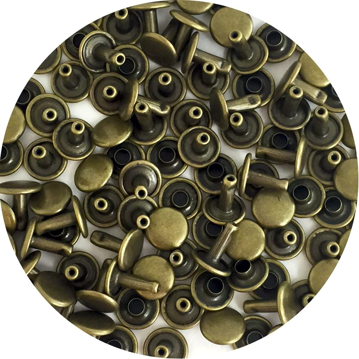 Springfield Leather Companys Nickel Plate Medium Double Cap Rivets 100pk