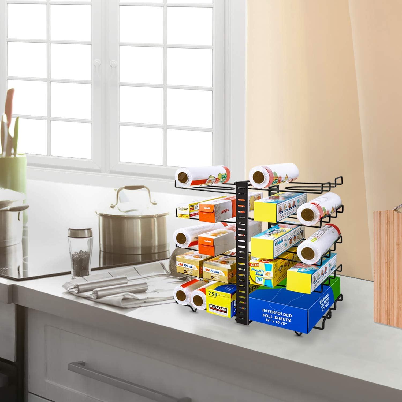 Wrap Organizer Rack Patent angemeldet Speisekammer Schr/änke verstellbarer Wrap Stand mit 10 Drahthalterung Schwarz Multifunktionaler Wrap Box Organizer f/ür K/üche