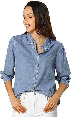 Allegra K Camisa Vaquera Manga Larga Botón Arriba Suelto Clásico para Mujer