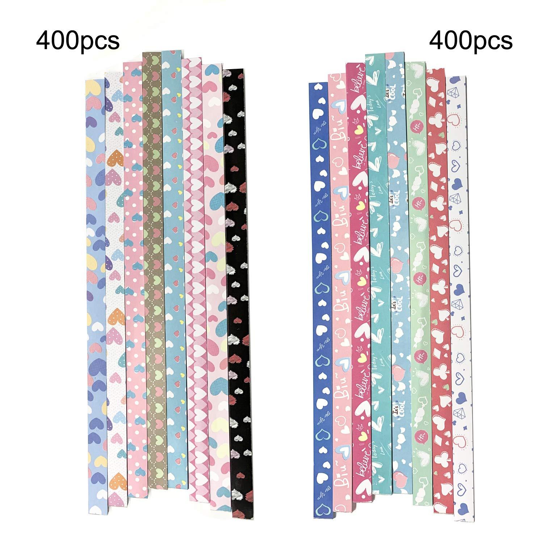 DOITEM Origami Sterne Papier Herz Fluoreszenz Herz Drucken Herz Papier Set 1820 Streifen 31 Farben 4 Styles