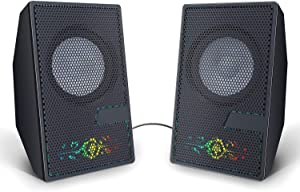 DANFI AUDIO DF Computer Speakers USB Powered with Loud Sound, Flashing RGB Light, Plug-in Desktop PC Speakers Compact with Long Cord for Dual Monitor, Volume Control and 3.5mm Jack- Totemica Fire
