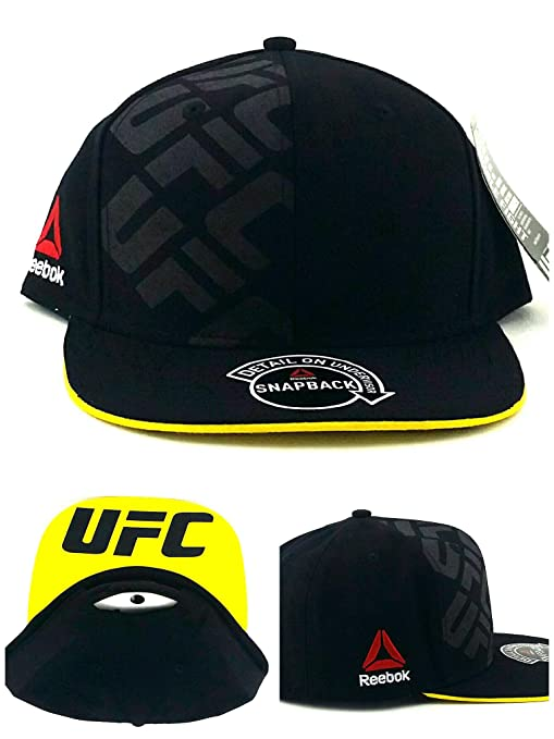 142ccd04ad2 Image Unavailable. Image not available for. Color  Reebok UFC RBK MMA Black  Yellow Authentic Fighter s Snapback Adjustable Hat Cap
