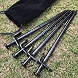 BareFour Tent Stakes, Heavy Duty Camping Stakes 12-Inch/8-Inch- Forged Steel Tent Pegs Unbreakable and Inflexible - Available In Rocky Place Dessert Snowfield and Grassland (Black)