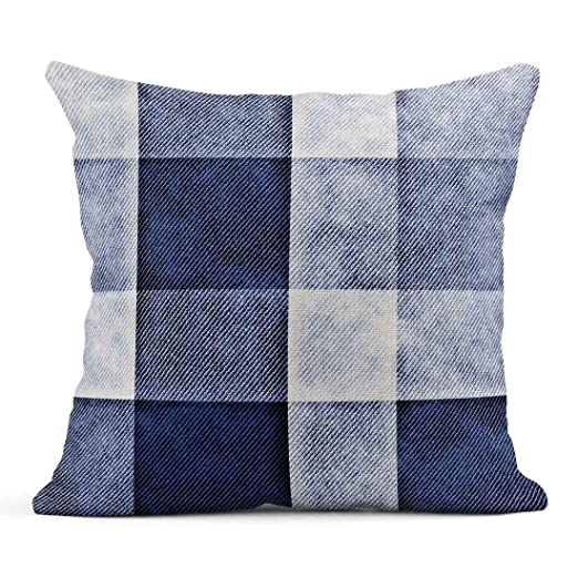 Kinhevao Cojín Azul Marino Denim Abstracto Lavado Indigo ...