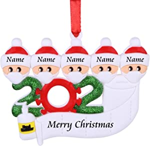 AKUDY Personalized 2020 Christmas Ornament Kit with Toilet Paper, Customized Family Name Christmas Tree Decorating Set Creative Friends Gift (5 People)