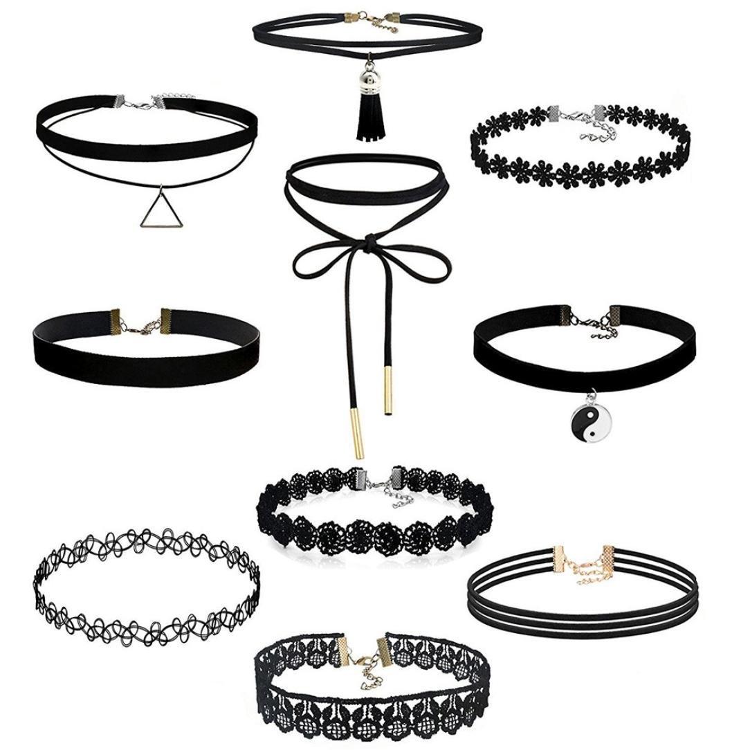 Bonjouree 10 pc Réglables Elastique Beaux colliers en dentelle Choker Bonjouree-02