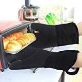 Heat Resistant Kitchen Oven Mitts 500 Degrees With Non-Slip Silicone Set of 2 Oven Gloves for BBQ Cooking set Baking Grilling Barbecue Microwave Machine Washable Women and Man (Black, Full Silicone)