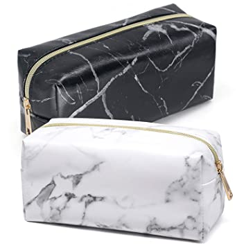 9293ace182f7 Amazon.com   Makeup Bag Organizer 2 Pack Travel Cosmetic Bag Makeup Brush  Storage Case Marble Pattern Pencil Pouch Pen Case Small Gold Zipper Handbag  Purse ...