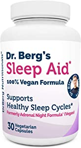 Dr. Berg Sleep Aid Vegan Formula – All Natural Support for Normal Sleeping Cycles to Fight Fatigue & Aids Stress – Best Non Habit Forming Supplements (1 Pack)