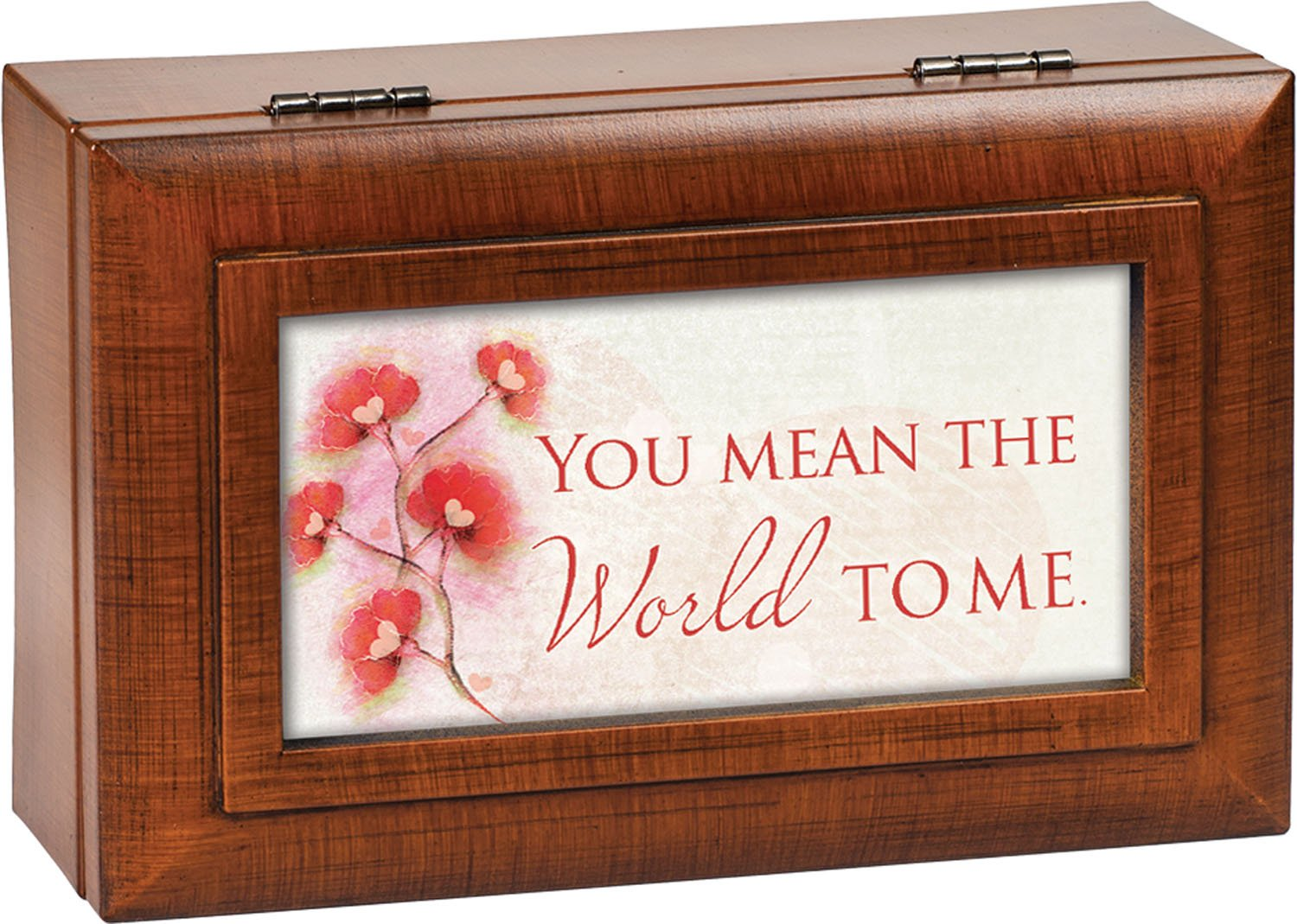 You Mean the World to Me Wood Finish Petite Jewelry Music Box Plays Wonderful World by Cottage Garden (Image #1)