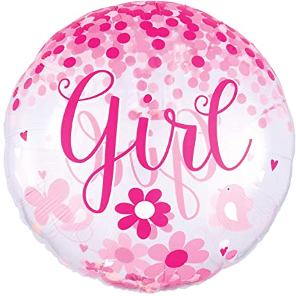 Globo de plástico con Confeti * Baby Girl * como decoración ...