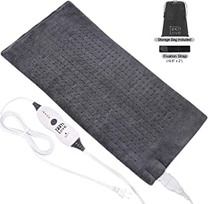 "Tech Love XLarge Heating Pad with Fixation Strap for Neck Shoulder and Back Pain Relief XL Moist Heat Pad 12"" x 24""Charcoal Gray"